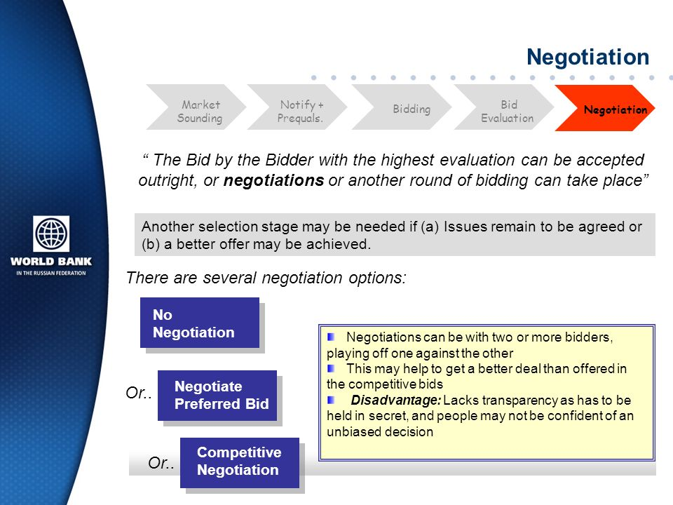 Negotiation The Bid by the Bidder with the highest evaluation can be accepted outright, or negotiations or another round of bidding can take place Bid