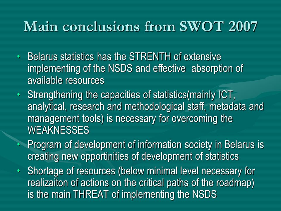 Main conclusions from SWOT 2007 Belarus statistics has the STRENTH of extensive implementing of the NSDS and effective absorption of available resourc