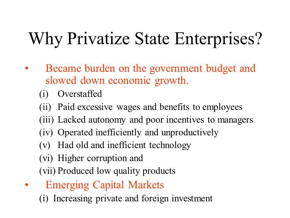Why Privatize State Enterprises.
