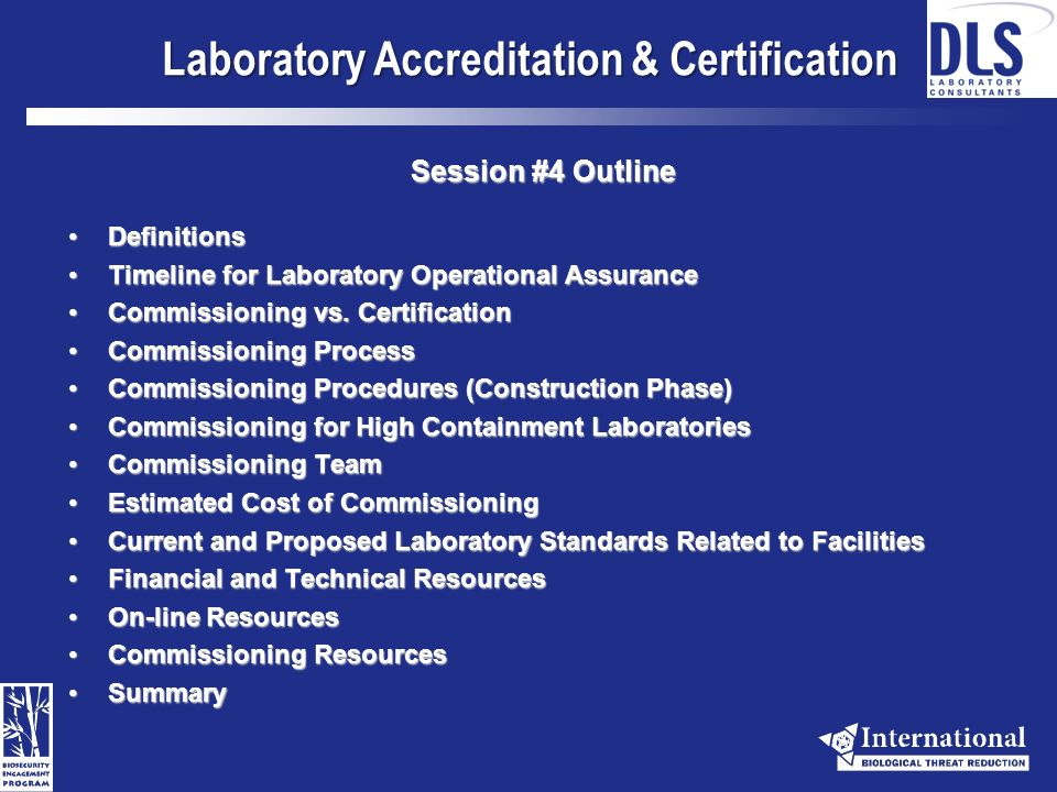 Avian Influenza Technical Series Animal and Human Health Laboratories Session #4 Laboratory Accreditation & Certification, Agencies and Resources Presented by: Craig M.