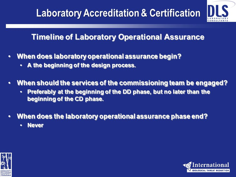 Laboratory Accreditation & Certification Definitions: Commissioning: A quality-oriented process for achieving, verifying, and documenting that the performance of facilities, systems, and assemblies meets defined objectives and criteria.