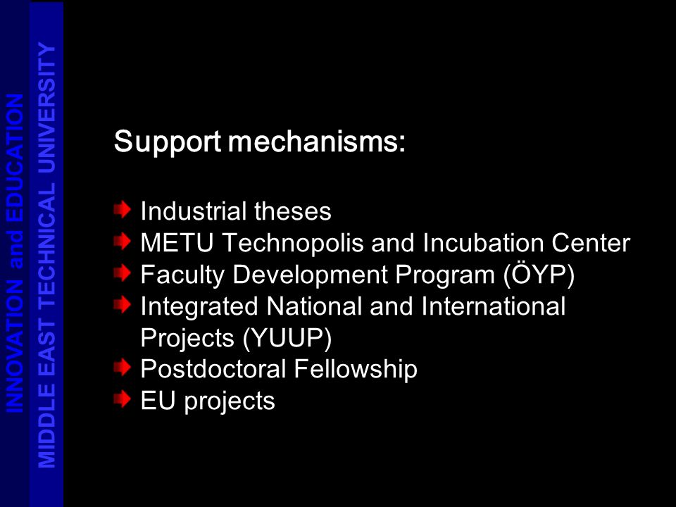 Support mechanisms: Industrial theses METU Technopolis and Incubation Center Faculty Development Program (ÖYP) Integrated National and International Projects (YUUP) Postdoctoral Fellowship EU projects INNOVATION and EDUCATION MIDDLE EAST TECHNICAL UNIVERSITY