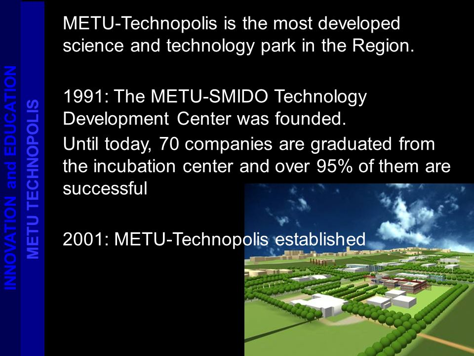 METU-Technopolis is the most developed science and technology park in the Region.