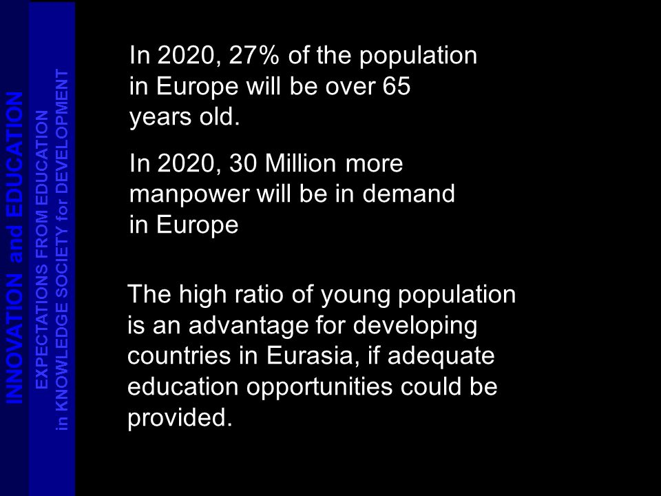 In 2020, 27% of the population in Europe will be over 65 years old. In 2020, 30 Million more manpower will be in demand in Europe The high ratio of yo