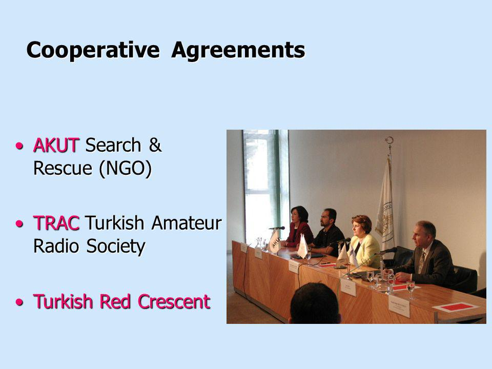 Cooperative Agreements AKUT Search & Rescue (NGO)AKUT Search & Rescue (NGO) TRAC Turkish Amateur Radio SocietyTRAC Turkish Amateur Radio Society Turki