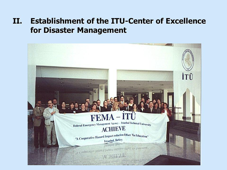 II.Establishment of the ITU-Center of Excellence for Disaster Management