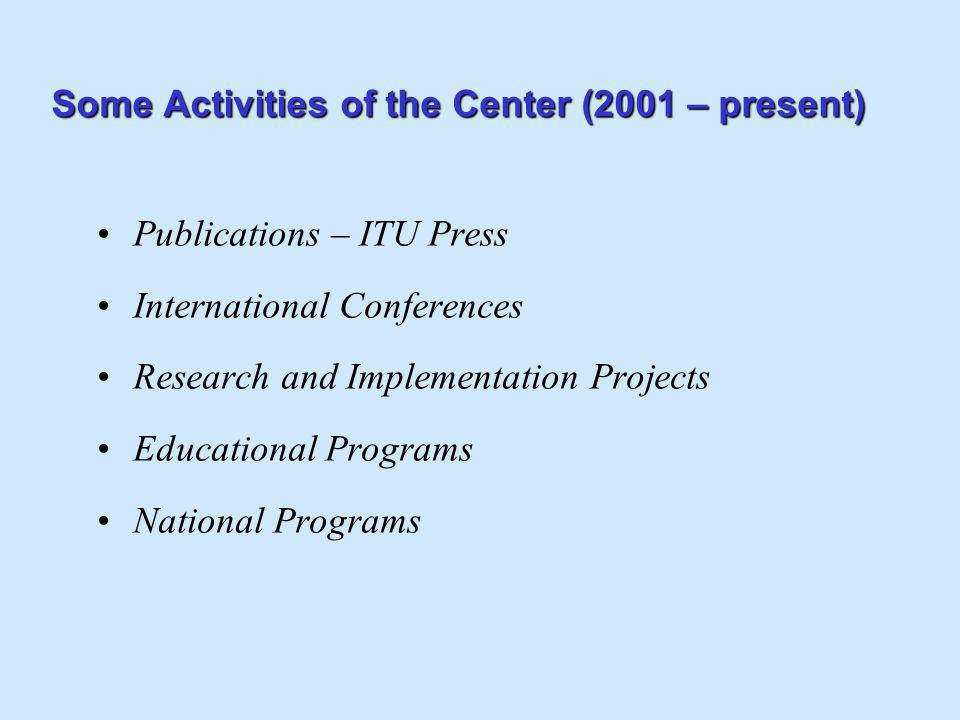 Some Activities of the Center (2001 – present) Publications – ITU Press International Conferences Research and Implementation Projects Educational Pro