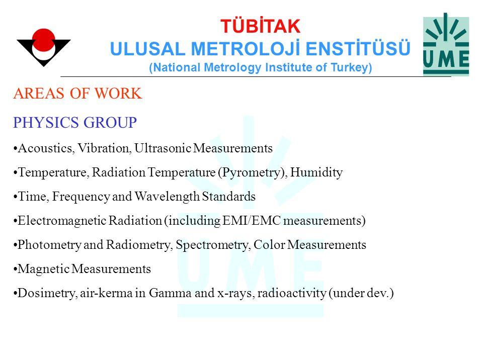 TÜBİTAK ULUSAL METROLOJİ ENSTİTÜSÜ (National Metrology Institute of Turkey) AREAS OF WORK PHYSICS GROUP Acoustics, Vibration, Ultrasonic Measurements