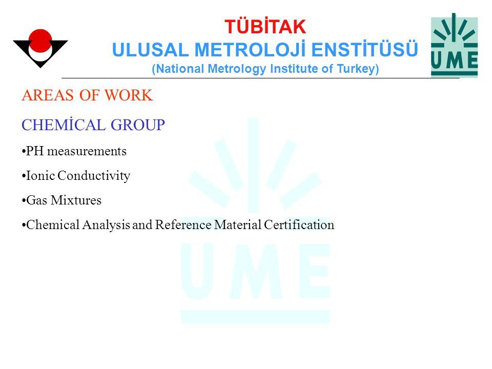 TÜBİTAK ULUSAL METROLOJİ ENSTİTÜSÜ (National Metrology Institute of Turkey) AREAS OF WORK CHEMİCAL GROUP PH measurements Ionic Conductivity Gas Mixtur