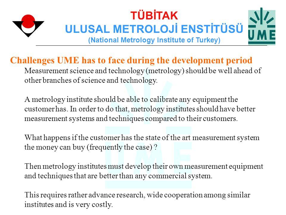 TÜBİTAK ULUSAL METROLOJİ ENSTİTÜSÜ (National Metrology Institute of Turkey) Challenges UME has to face during the development period Measurement scien