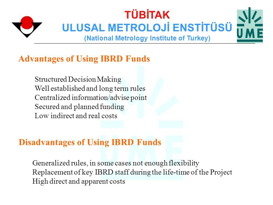 TÜBİTAK ULUSAL METROLOJİ ENSTİTÜSÜ (National Metrology Institute of Turkey) Advantages of Using IBRD Funds Structured Decision Making Well established