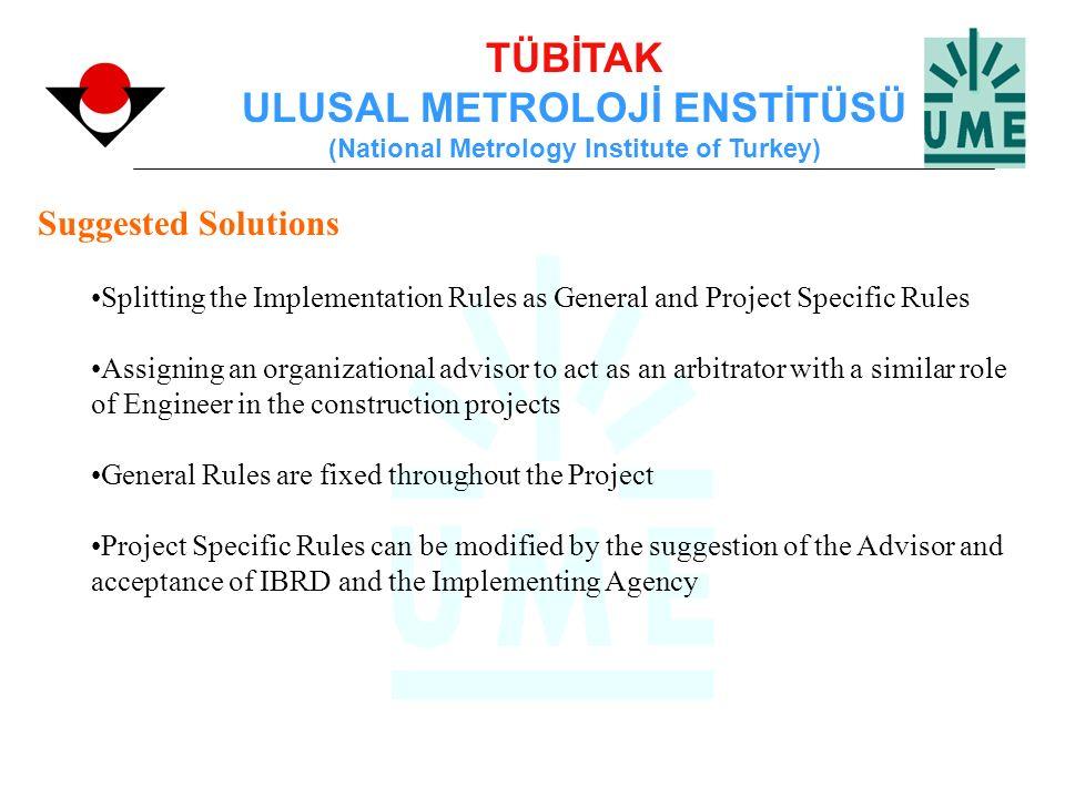 TÜBİTAK ULUSAL METROLOJİ ENSTİTÜSÜ (National Metrology Institute of Turkey) Suggested Solutions Splitting the Implementation Rules as General and Proj