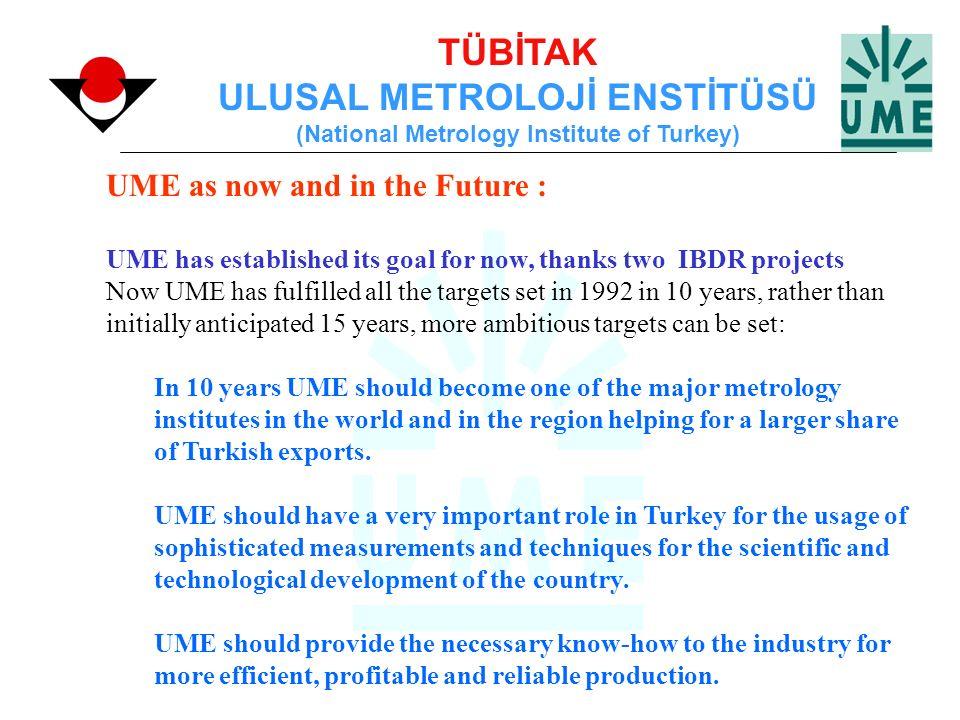 TÜBİTAK ULUSAL METROLOJİ ENSTİTÜSÜ (National Metrology Institute of Turkey) UME as now and in the Future : UME has established its goal for now, thank