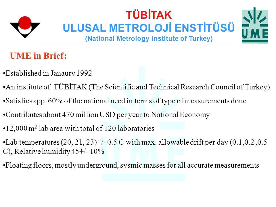 TÜBİTAK ULUSAL METROLOJİ ENSTİTÜSÜ (National Metrology Institute of Turkey) UME in Brief: Established in Janaury 1992 An institute of TÜBİTAK (The Sci