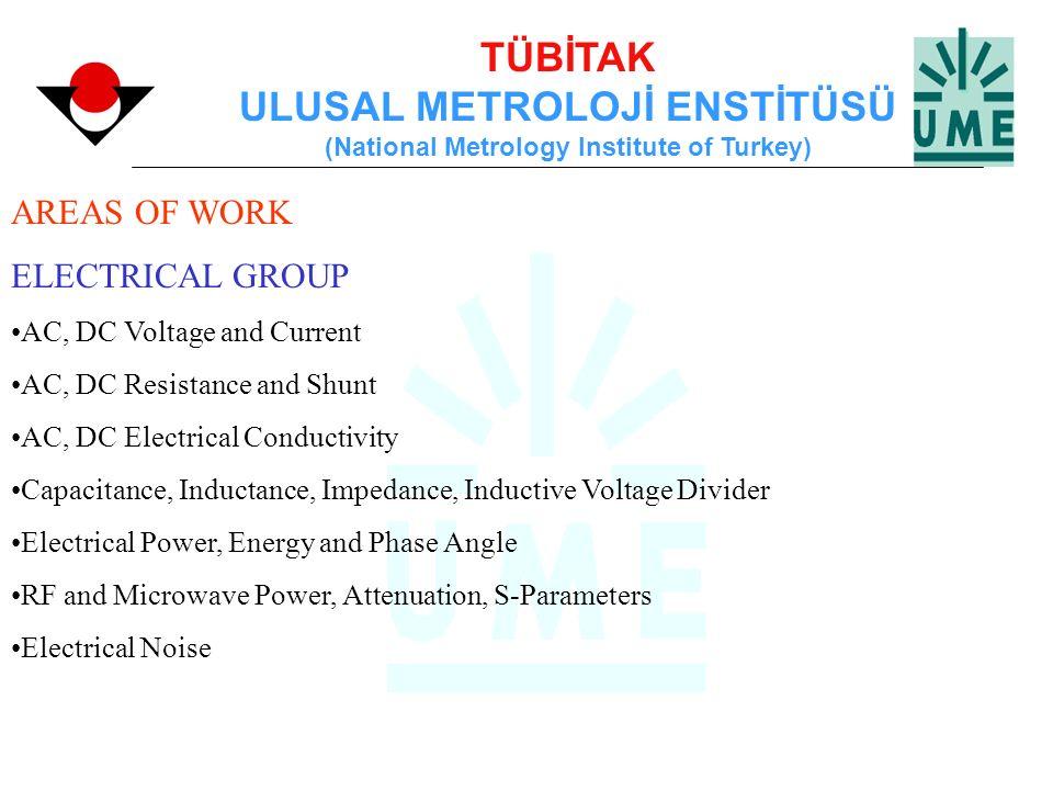 TÜBİTAK ULUSAL METROLOJİ ENSTİTÜSÜ (National Metrology Institute of Turkey) AREAS OF WORK ELECTRICAL GROUP AC, DC Voltage and Current AC, DC Resistanc