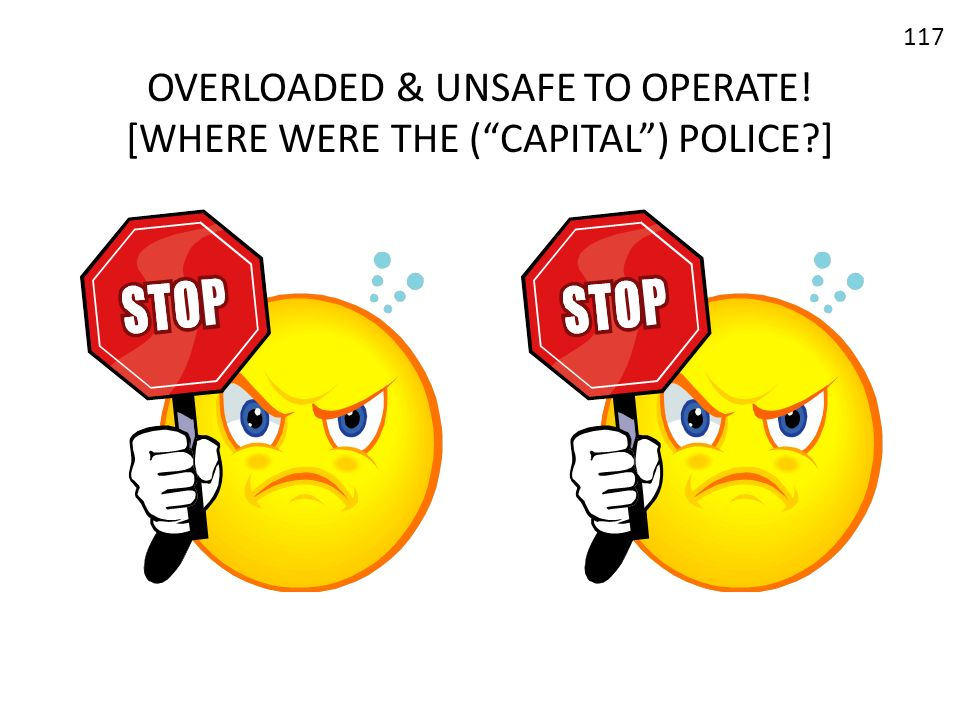 OVERLOADED & UNSAFE TO OPERATE! [WHERE WERE THE (CAPITAL) POLICE?] 117