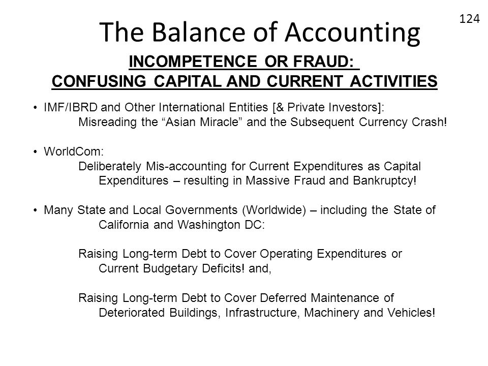 The Balance of Accounting INCOMPETENCE OR FRAUD: CONFUSING CAPITAL AND CURRENT ACTIVITIES IMF/IBRD and Other International Entities [& Private Investo