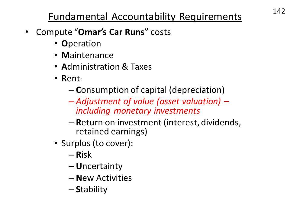 Fundamental Accountability Requirements Compute Omars Car Runs costs Operation Maintenance Administration & Taxes Rent : – Consumption of capital (dep