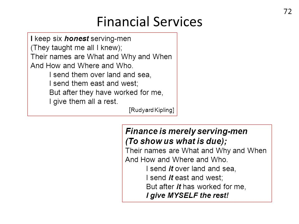 Financial Services 72 I keep six honest serving-men (They taught me all I knew); Their names are What and Why and When And How and Where and Who. I se