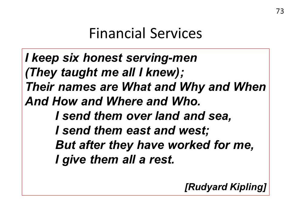 Financial Services 73 I keep six honest serving-men (They taught me all I knew); Their names are What and Why and When And How and Where and Who. I se