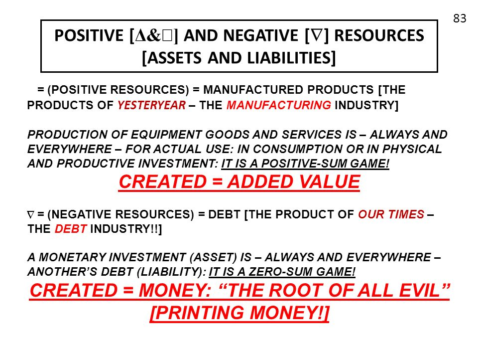 POSITIVE [ Δ& ] AND NEGATIVE [ ] RESOURCES [ASSETS AND LIABILITIES] œ = (POSITIVE RESOURCES) = MANUFACTURED PRODUCTS [THE PRODUCTS OF YESTERYEAR – THE