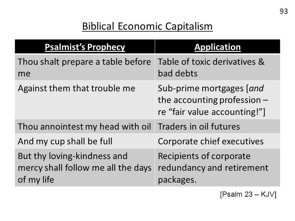 Biblical Economic Capitalism 93 Psalmists ProphecyApplication Thou shalt prepare a table before me Table of toxic derivatives & bad debts Against them