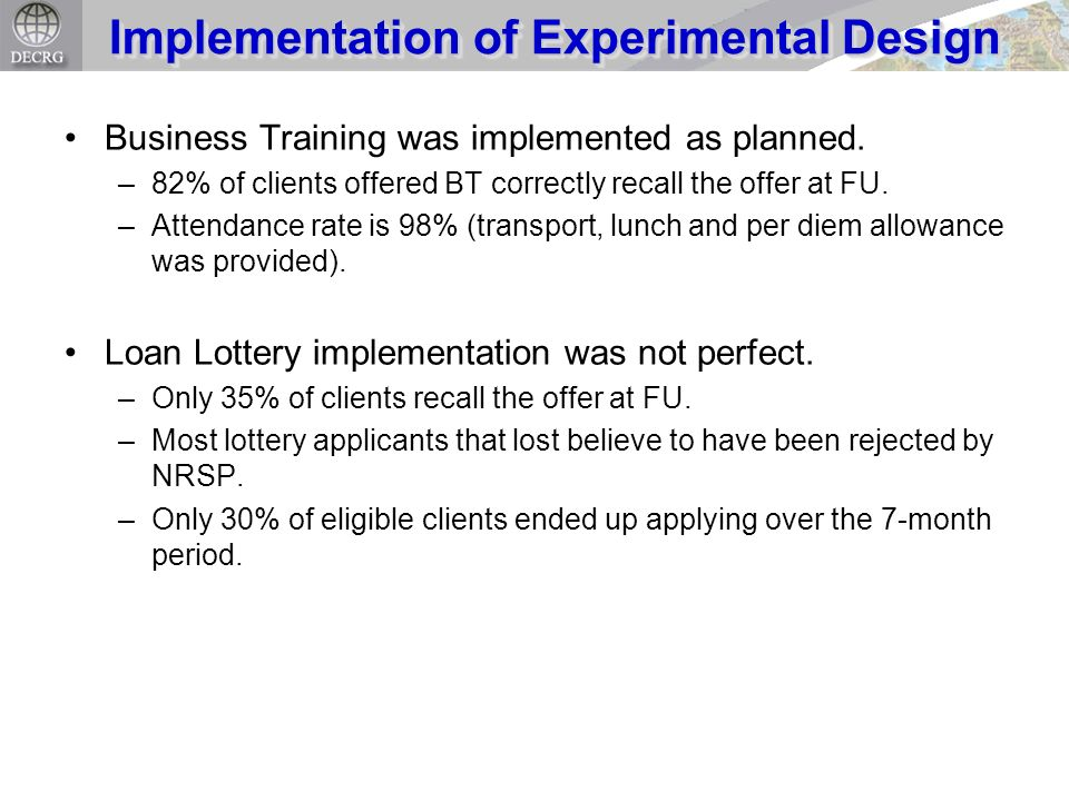 Business Training was implemented as planned. –82% of clients offered BT correctly recall the offer at FU. –Attendance rate is 98% (transport, lunch a