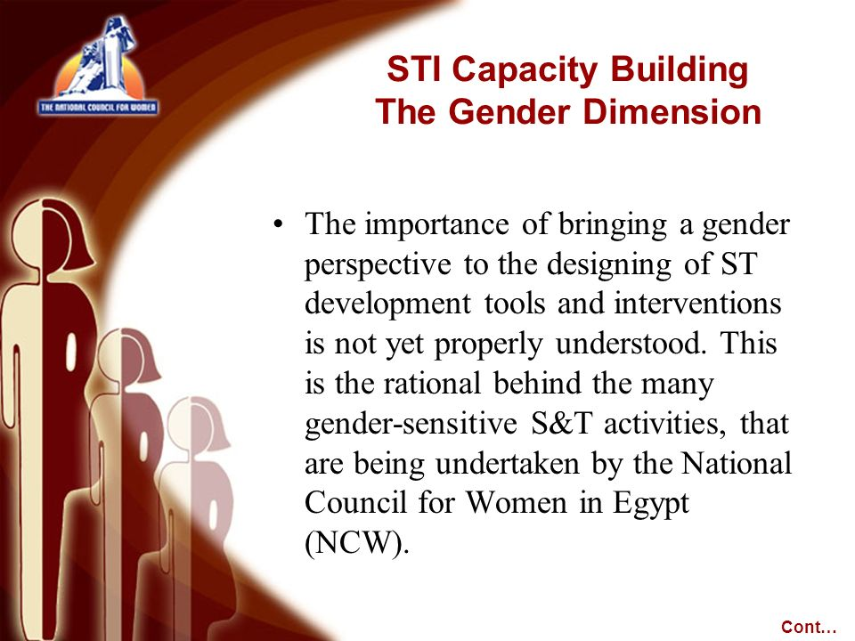 The importance of bringing a gender perspective to the designing of ST development tools and interventions is not yet properly understood. This is the