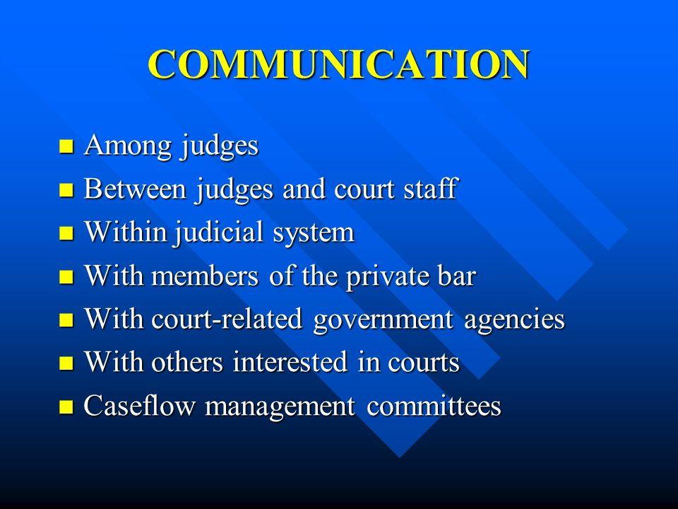 COMMUNICATION Among judges Among judges Between judges and court staff Between judges and court staff Within judicial system Within judicial system Wi