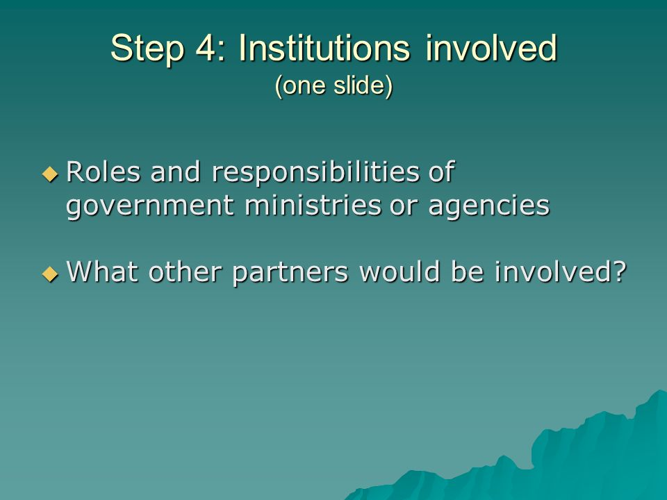 Step 4: Institutions involved (one slide) Roles and responsibilities of government ministries or agencies Roles and responsibilities of government ministries or agencies What other partners would be involved.