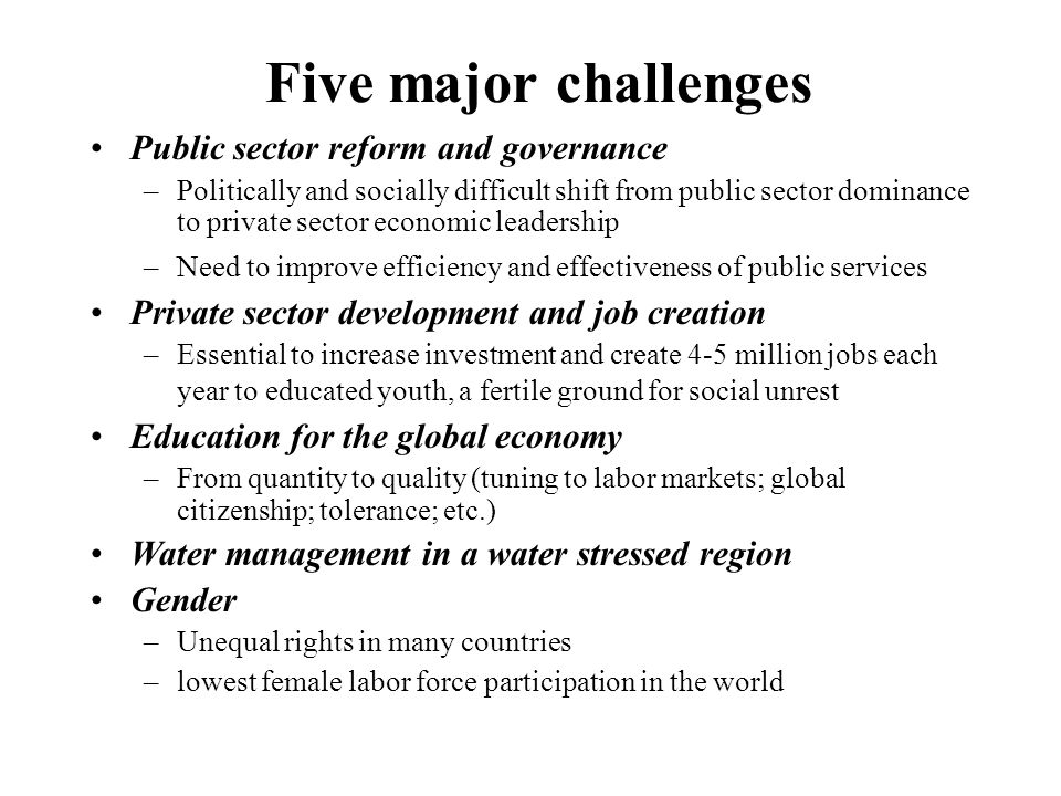Five major challenges Public sector reform and governance –Politically and socially difficult shift from public sector dominance to private sector economic leadership –Need to improve efficiency and effectiveness of public services Private sector development and job creation –Essential to increase investment and create 4-5 million jobs each year to educated youth, a fertile ground for social unrest Education for the global economy –From quantity to quality (tuning to labor markets; global citizenship; tolerance; etc.) Water management in a water stressed region Gender –Unequal rights in many countries –lowest female labor force participation in the world