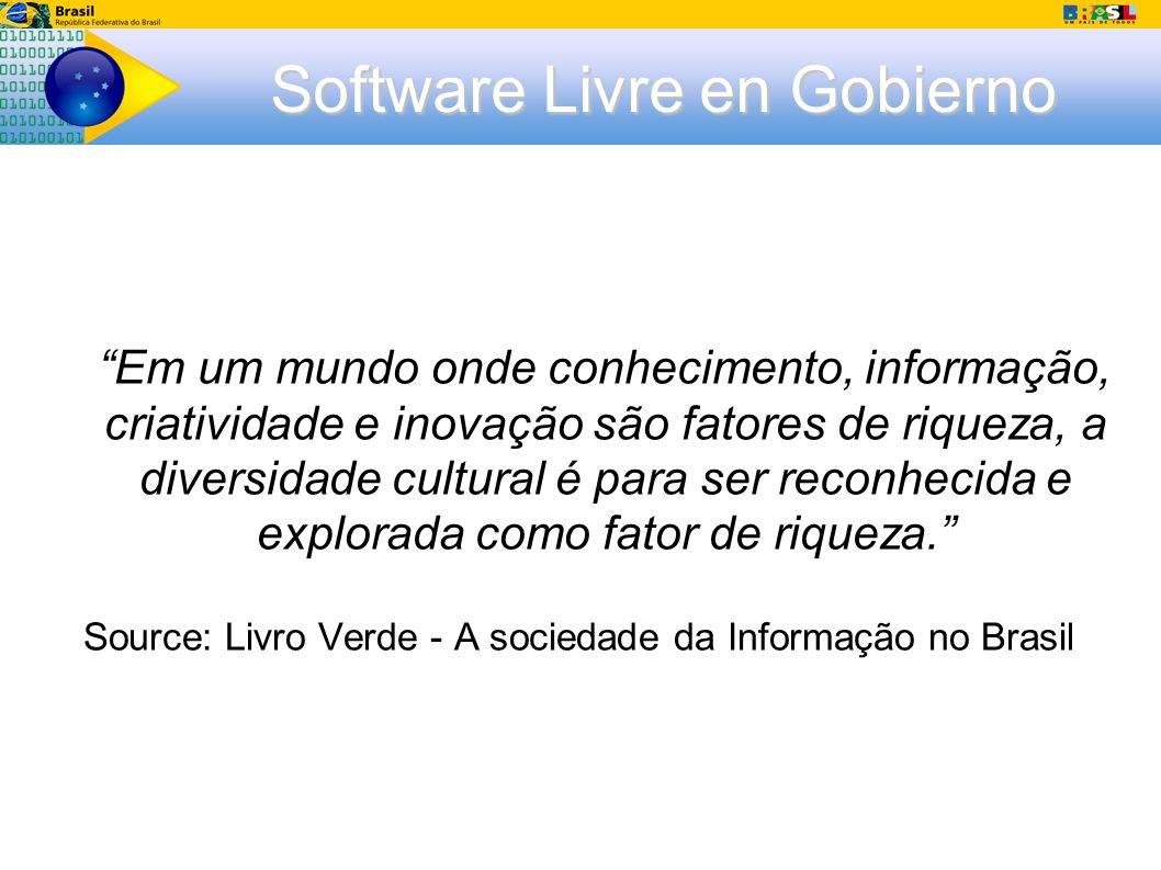 Software Livre en Gobierno Em um mundo onde conhecimento, informação, criatividade e inovação são fatores de riqueza, a diversidade cultural é para ser reconhecida e explorada como fator de riqueza.