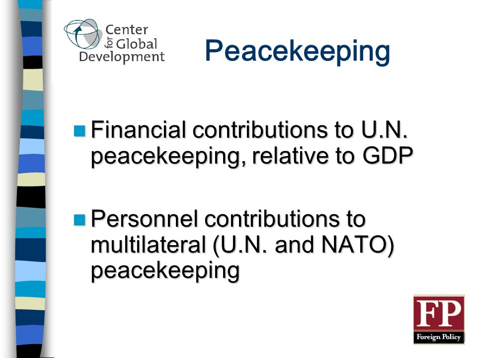 Peacekeeping Financial contributions to U.N. peacekeeping, relative to GDP Financial contributions to U.N. peacekeeping, relative to GDP Personnel con