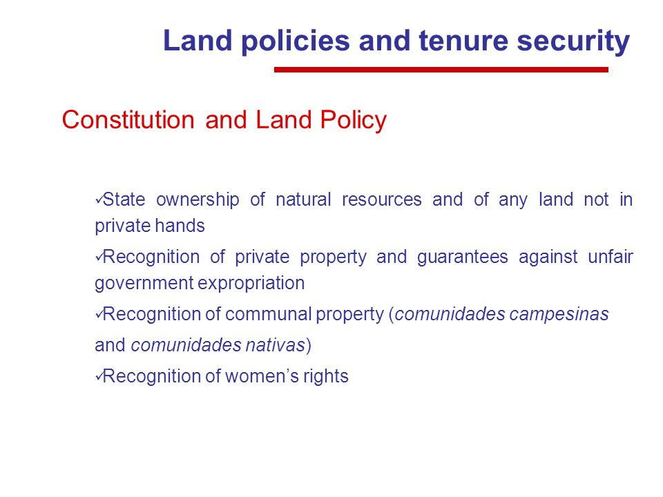 Land policies and tenure security Constitution and Land Policy State ownership of natural resources and of any land not in private hands Recognition of private property and guarantees against unfair government expropriation Recognition of communal property (comunidades campesinas and comunidades nativas) Recognition of womens rights