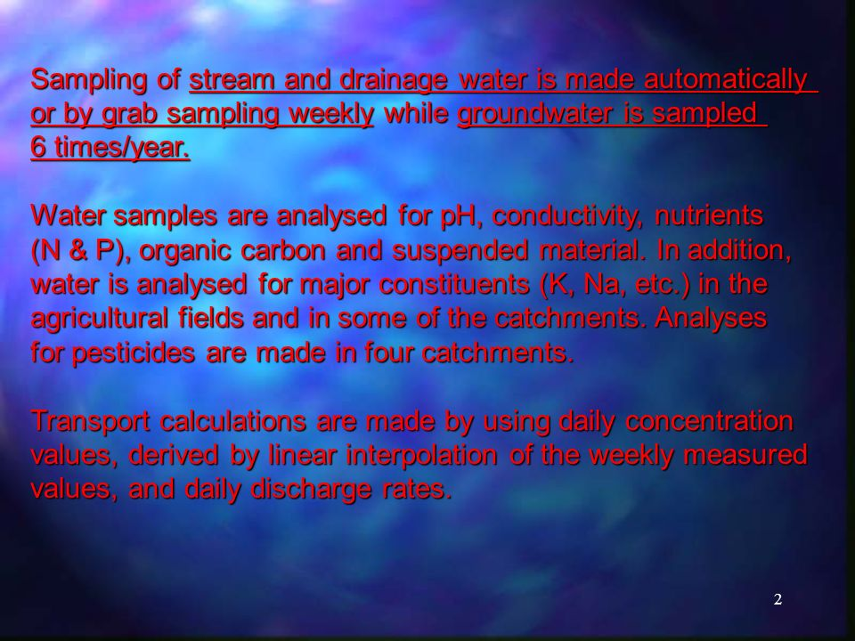 2 Sampling of stream and drainage water is made automatically or by grab sampling weekly while groundwater is sampled 6 times/year.