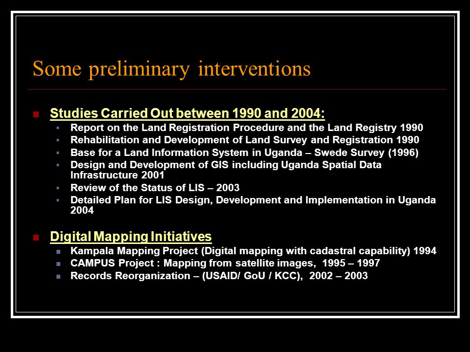 Some preliminary interventions Studies Carried Out between 1990 and 2004: Report on the Land Registration Procedure and the Land Registry 1990 Rehabil