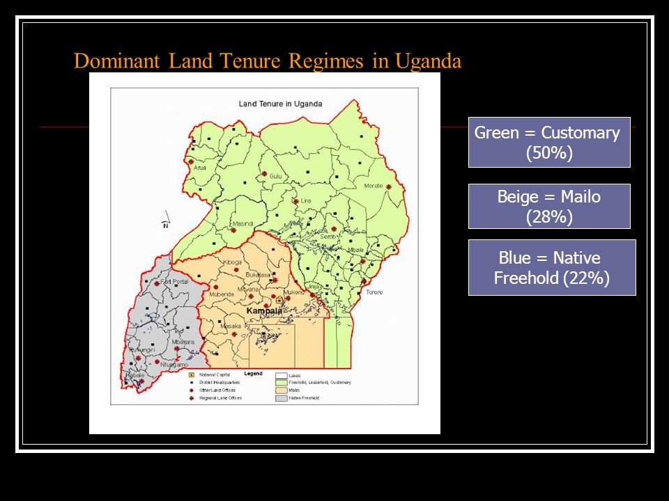Dominant Land Tenure Regimes in Uganda Green = Customary (50%) Beige = Mailo (28%) Blue = Native Freehold (22%)