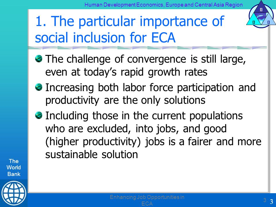 Human Development Economics, Europe and Central Asia Region The World Bank 3 H DE 3 Enhancing Job Opportunities in ECA 3 1.