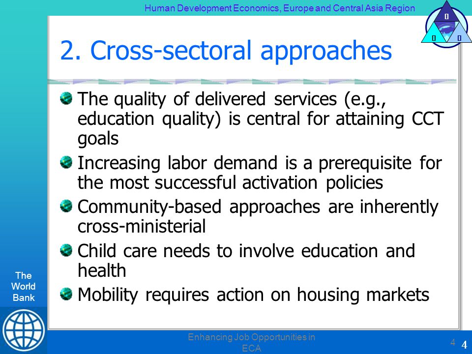 Human Development Economics, Europe and Central Asia Region The World Bank 4 H DE 4 Enhancing Job Opportunities in ECA 4 2. Cross-sectoral approaches