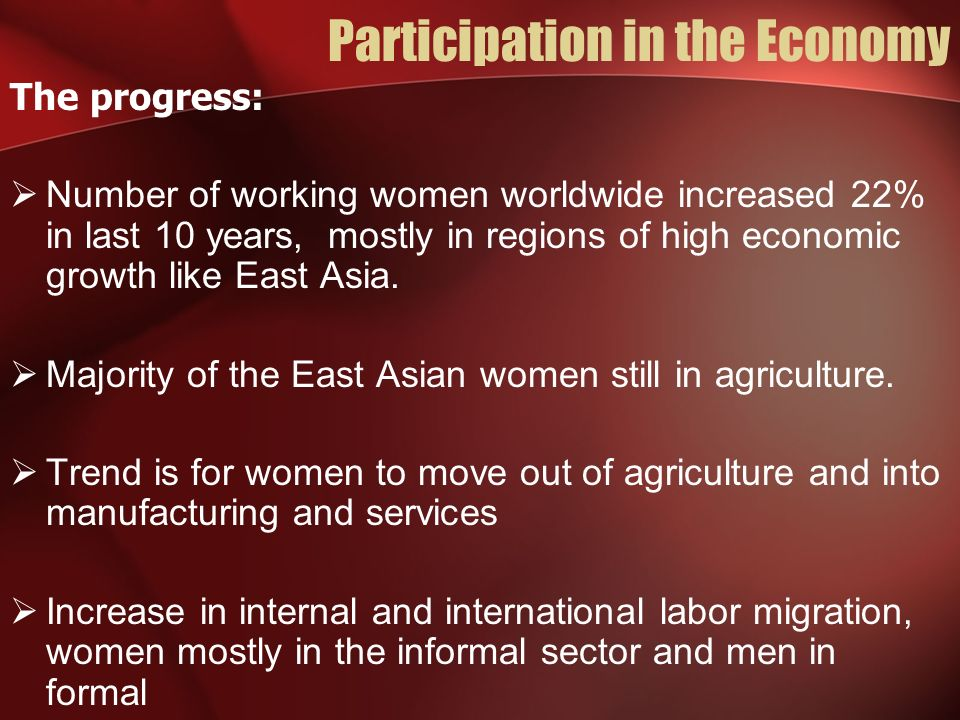 Participation in the Economy The progress: Number of working women worldwide increased 22% in last 10 years, mostly in regions of high economic growth like East Asia.