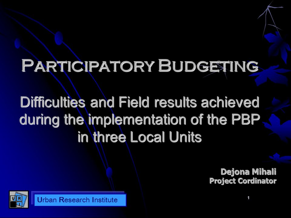 Urban Research Institute Outputs received from the implementation of the Participatory Budgeting Communication Campaign – difficulties - Which was the communication scheme and wich were its limitations.