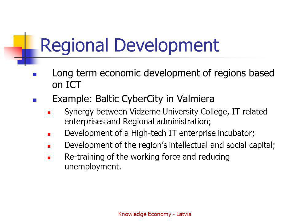 Knowledge Economy - Latvia Regional Development Long term economic development of regions based on ICT Example: Baltic CyberCity in Valmiera Synergy between Vidzeme University College, IT related enterprises and Regional administration; Development of a High-tech IT enterprise incubator; Development of the regions intellectual and social capital; Re-training of the working force and reducing unemployment.