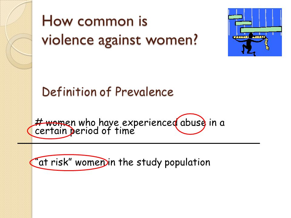 How common is violence against women? Definition of Prevalence # women who have experienced abuse in a certain period of time at risk women in the stu