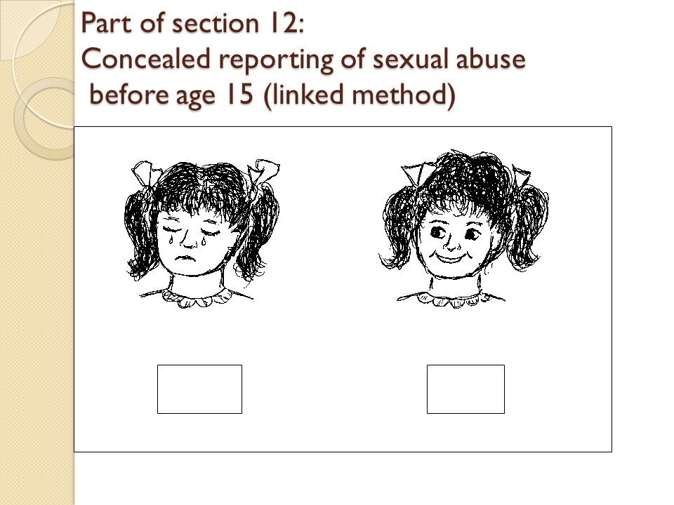 Part of section 12: Concealed reporting of sexual abuse before age 15 (linked method)