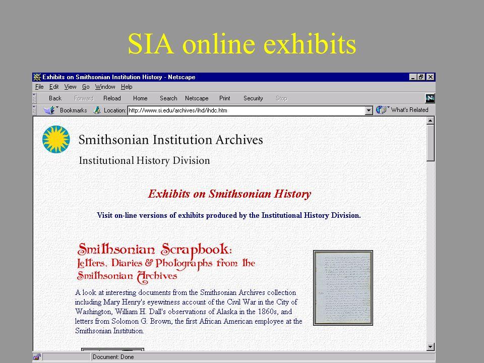 SIA online exhibits