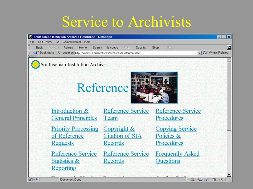 Service to Archivists