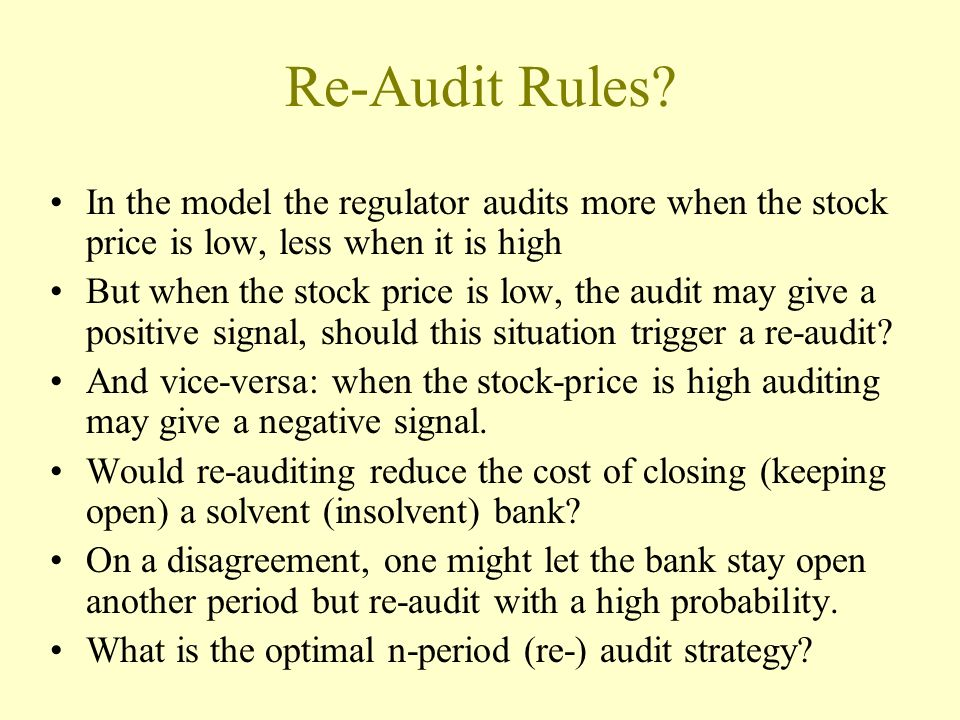 Re-Audit Rules.