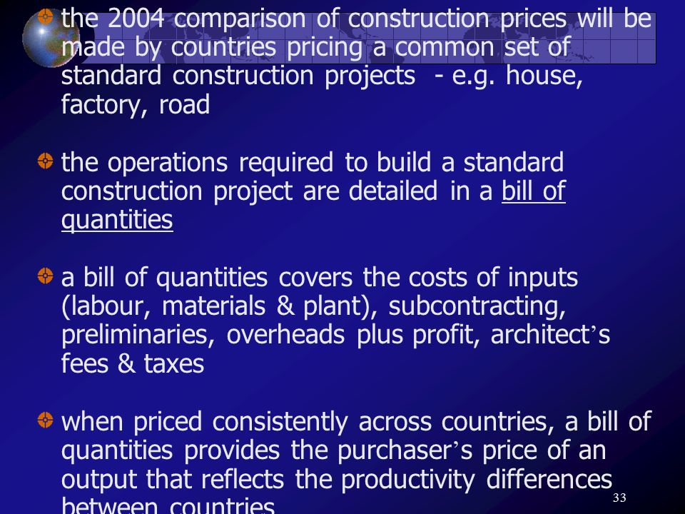 33 the 2004 comparison of construction prices will be made by countries pricing a common set of standard construction projects - e.g. house, factory,