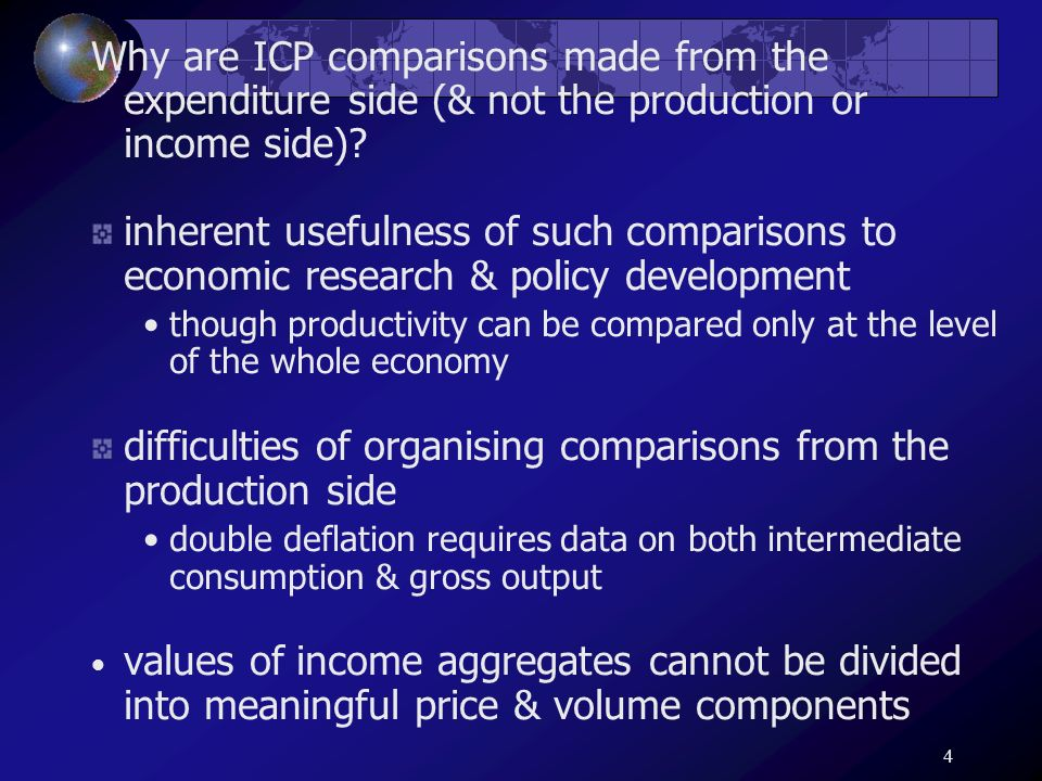 4 Why are ICP comparisons made from the expenditure side (& not the production or income side)? inherent usefulness of such comparisons to economic re