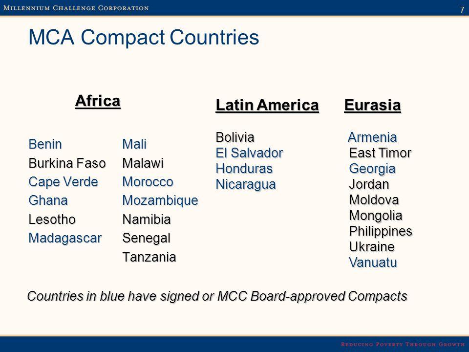 7 MCA Compact Countries Africa BeninMali Burkina Faso Malawi Cape VerdeMorocco Ghana Mozambique Lesotho Namibia Madagascar Senegal Tanzania Latin Amer